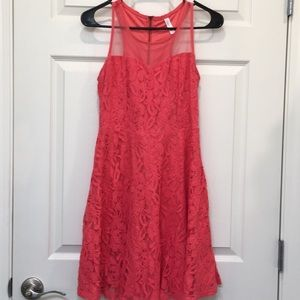 Xhilaration orange peach floral lace dress